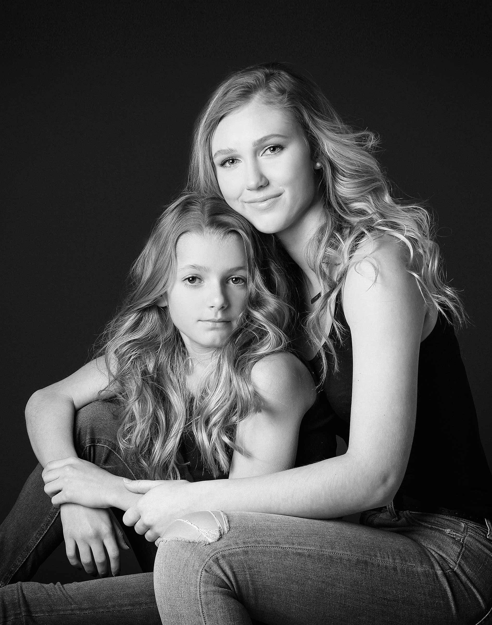 sisters black and white fine art portrai